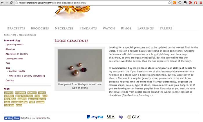 webshop voor Chatelaine Jewelry